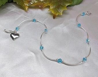 Girls Anklet Aquamarine Anklet Blue Crystal Anklet Silver Heart Ankle Bracelet Adjustable Anklet 925 Sterling Silver or Plate BuyAny3+1 Free