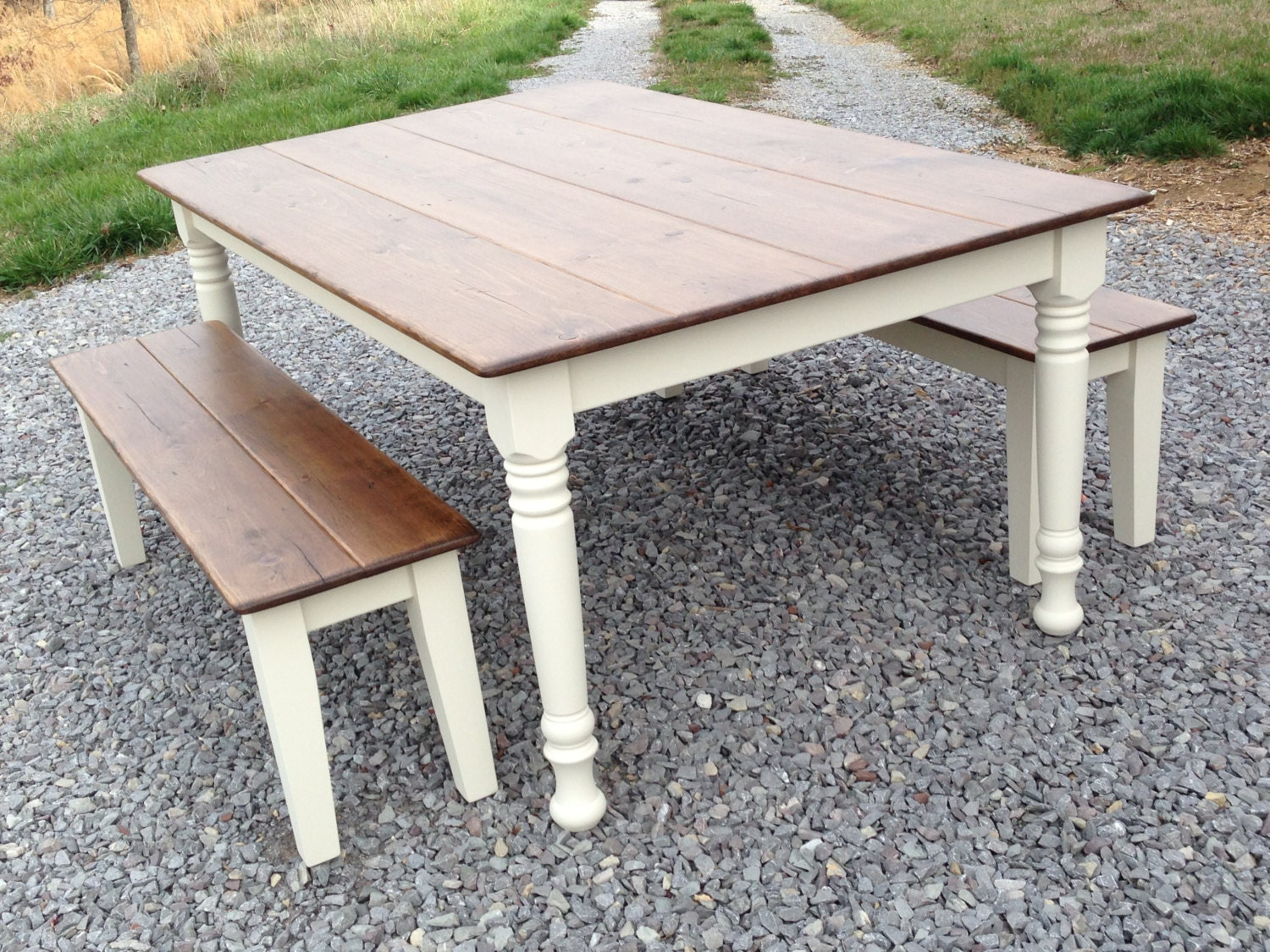 Farm style table with storage bench native home garden for Farm style kitchen table
