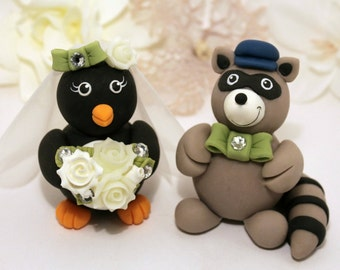 Penguin and Raccoon wedding cake topper, customizable with banner
