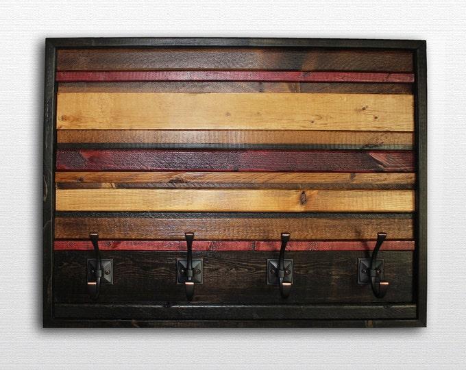 "Wood Wall Art - Wood Coat Hook - Modern Coat Hook - Rustic Wood Coat Hook - Horizontal Stripe  -  25 x 20"""