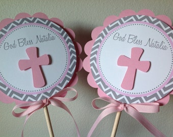 God Bless Centerpiece Decoration Sticks Pink and Grey Chevron