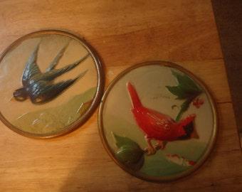 2 Vintage Bird Pictures Wall Decor Set