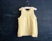 vintage yellow knit  crochet jumper baby dress, tunic top for toddler