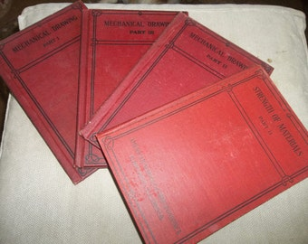 "4 Antique Books...""Mechanical Drawing""...1920...American School Of Correspondance"