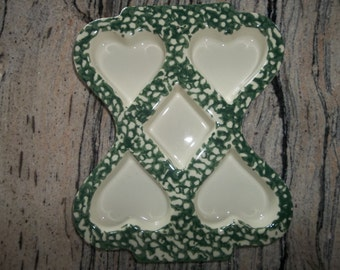 HENN POTTERY  Cookie Mold...Collectable...Christmas gift...Large...Green Spongeware