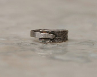 Sterling Silver Ring  - Unique Hammered Antiqued Ring