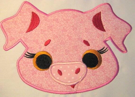 Pig farm animal face machine applique embroidery design