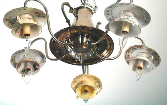 Vintage Upcycled Repurposed Tea Cup Teapot 5 Light Chandelier