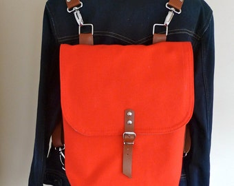 Free Express Shipping Mini Backpack Red / Shoulder Bag / Leather Straps / Rucksack