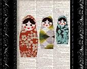 Japanese Matryoshka Dolls  3  - Vintage Dictionary Print Vintage Book Print Page Art Upcycled Vintage Book Art