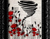 Sale - Wizard Of Oz The Tornado Poppy Field - Frank Baum - Dictionary Print Art Upcycled Vintage Book Artupcycled book print