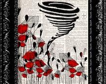 Sale - Wizard Of Oz The Tornado Poppy Field - Frank Baum - Dictionary Print Art Upcycled Vintage Book Artupcycled book print