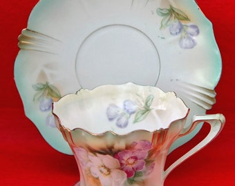 Antique R S PRUSSIA Tea CUP and Saucer Decorated with Pansy's on Shaded Green Background with Red Mark, Fine Porcelain, Exc Condition!