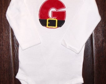 Boutique Christmas Santa Initial with Belt Shirt or Bodysuit Sizes Newborn to 14 youth