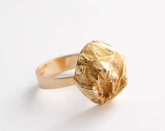 "Modernist Bjorn Weckstrom Lapponia Nugget ""Yellow Rose"" 14K Gold Ring Finland Scandinavian 1970s"