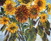 Sunflower bouquet - floral giclee paper or canvas print