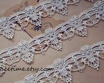 Ivory Lace Trim, Antique Lace Trim, Crochet Lace for Costume Jewelry Design