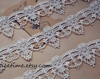 15 yards Ivory Lace Trim, Antique Lace Trim, Crochet Lace for Costume Jewelry Design