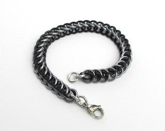 Chain mail bracelet, Half Persian 3 in 1 black and gray