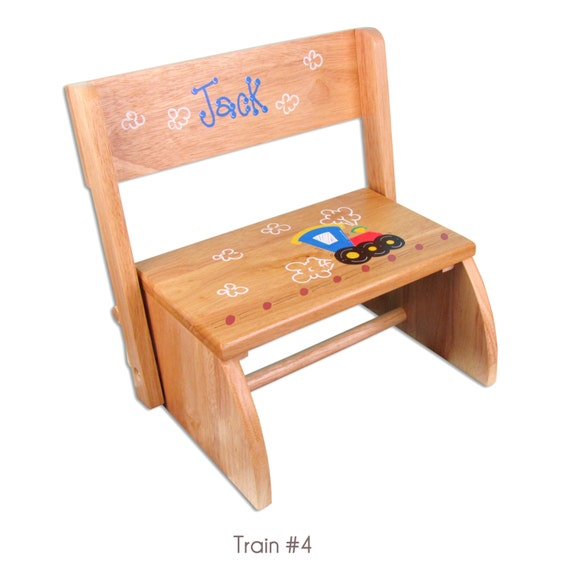 Hand Painted Personalized Children S Natural Wood Step