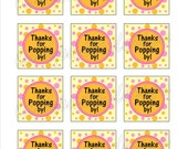 "Instant Download DIY Printable ""Thanks For Popping By"" Thank You Tags"