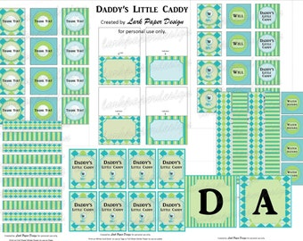 """DIY Printable """"Daddy's Little Caddy"""" Argyle Baby Shower Collection"""