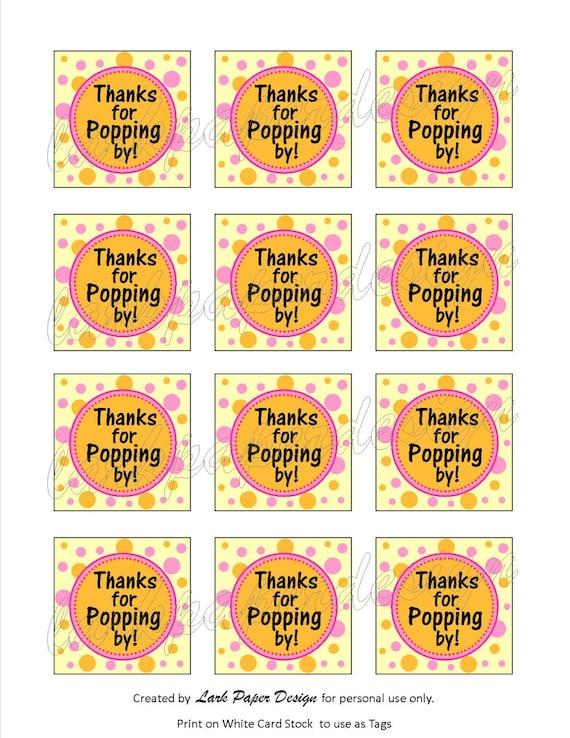 """Instant Download DIY Printable """"Thanks For Popping By"""" Thank You Tags"""