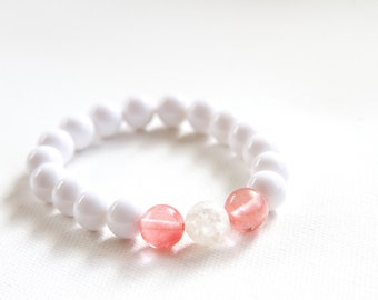 White With Coral Beaded Stretch Bracelet