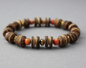 gold and orange bracelet stretch bracelet with coconut wood jasper and fire polished czech glass chunky boho