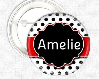 Black polka dot personalised name button badge, keyring, keychain, badge reel