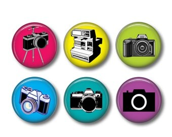 Cameras pinback button badges or fridge magnets