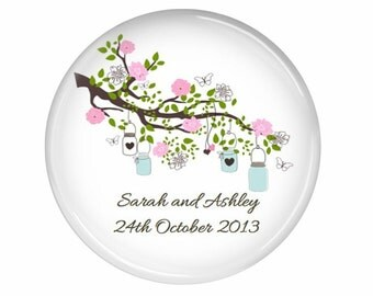 Mason jar wedding magnet favors - 20 wedding magnet favors personalise with your text