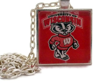 Wisconsin Badgers Pendant Necklace, WI Badger, Bucky Badger Glass Pendant, Wisconsin Badgers Fan,  Sister Gift Wife Gift Girlfriend Gift