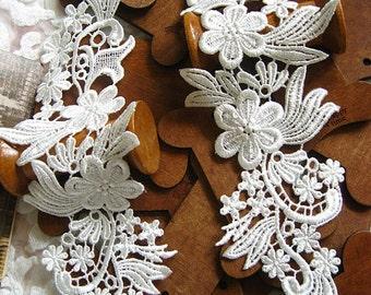 off white bridal headpiece, lace applique,venise lace applique, wedding applique, bridal applique, bridal hairflower applique