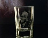 Shot glass - Hand engraved -spooky square grim reaper , glassware, custom barware, grim reaper gift ideas , groomsmen gift, ooak shot glass