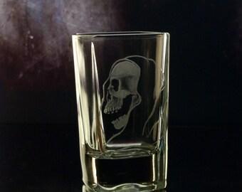 Shot glass - Hand engraved -spooky square grim reaper , glassware, custom barware, grim reaper gift ideas , groomsmen gift, ooak shot glass