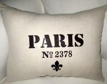 Paris Fleur de Lis, Vintage Postmark Inspired BURLAP Pillow, French Shabby Chic Cushion, Neutral Home Decor, France