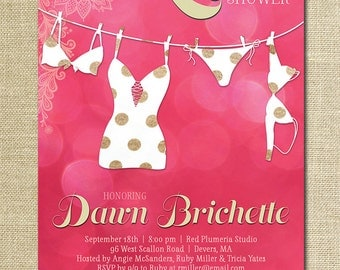 Lingerie Shower Invitation Lace Pink Dots Bokeh Gold Modern Bridal Personal Shower Invitation DIY Digital or Printed - Dawn Style