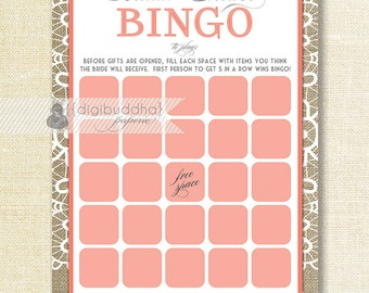 """Coral Lace Bridal Shower Bingo INSTANT DOWNLOAD 5x7"""" Shabby Chic Lace Burlap Bridal Shower Game Card DIY Printable or Printed- Jackie"""