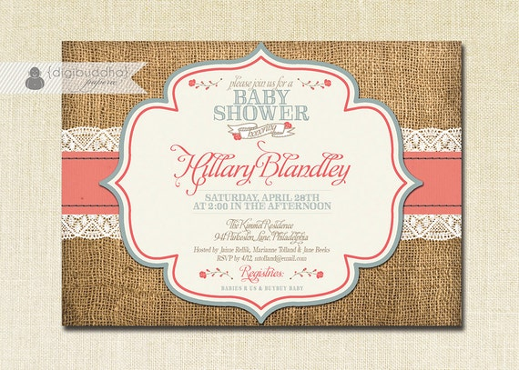 lace burlap baby shower invitation coral country blue roses shabby