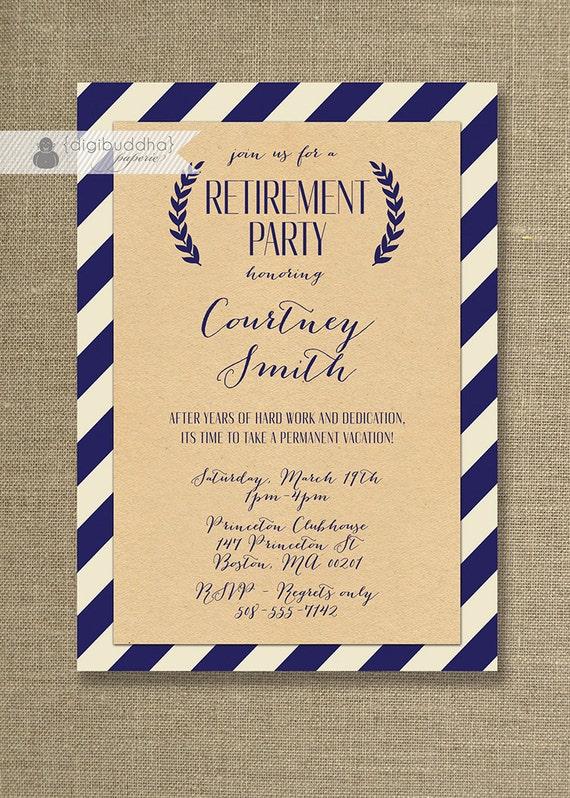 Kraft Retirement Party Invitation Whimsical Script Navy ...