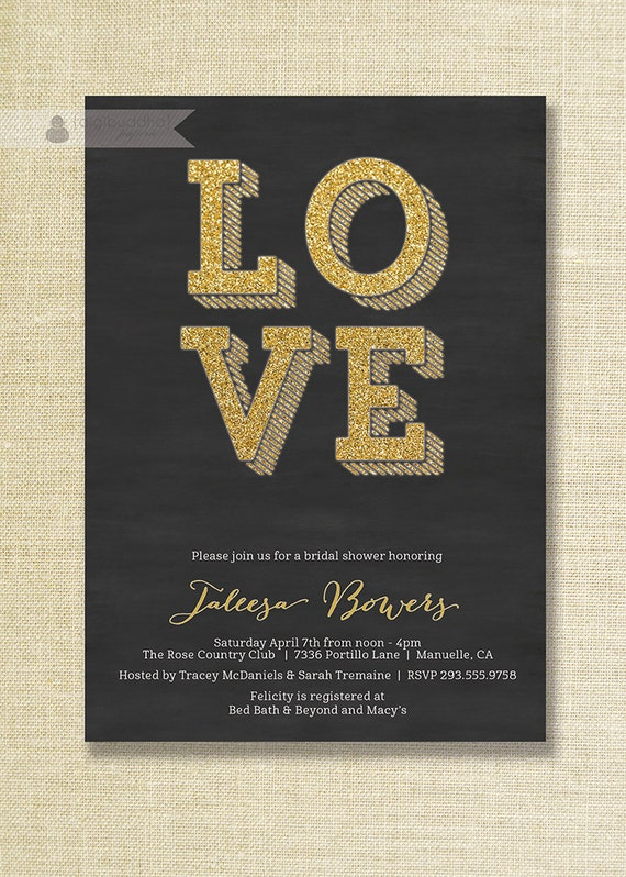 Black gold bridal shower invitation glitter love sparkly for Black and gold wedding shower invitations