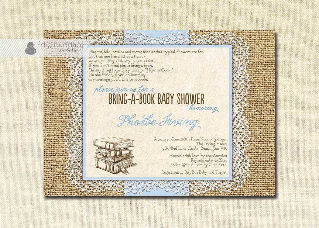 Lace Burlap Baby Shower Invitation Bring A Book Pastel Blue Rustic ...