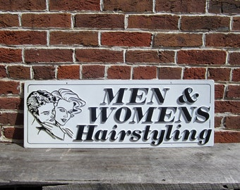Vintage Sign Mens Womens Hairstyling Sign Old Plastic Sign 1980s 80s Era Hair Salon Barber Retro Throwback Raised Letters 3D Black and White