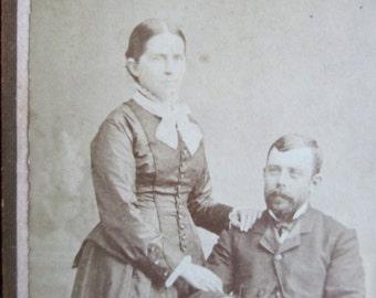 Antique Photograph CDV Carte De Visite Black White Photo Attractive Couple Man & Woman 1800s