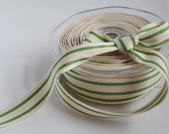 Cotton natural and green stripe ribbon, 1m (1.1yard)