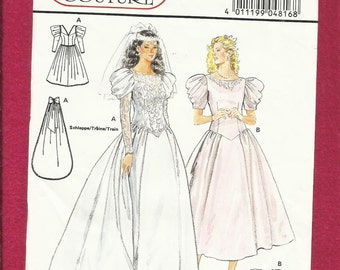 Vintage 1980s Burda 4816 Wedding Gown with Chevron Drop Waist & Detachable Train Sizes 8 - 18