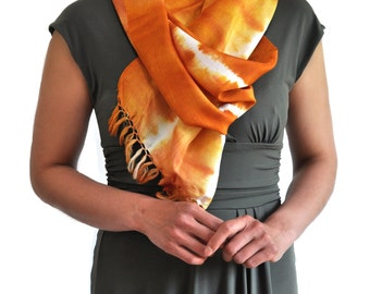 Tangerine Dreams Ikat Silk Scarf- 6011. Free Shipping on orders 100 dollars and up (USA). Coupon Code: USFREESHIPPING