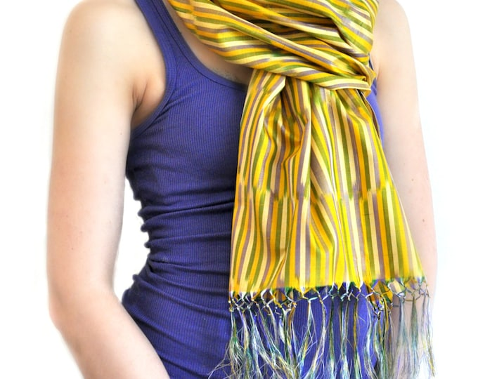 Kyzylkum Sands Ikat Silk Scarf - 6003. Free Shipping on orders 100 dollars and up (USA). Coupon Code: USFREESHIPPING
