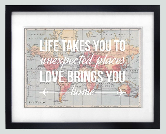 World Map Poster World Map Print Love Quote Map By